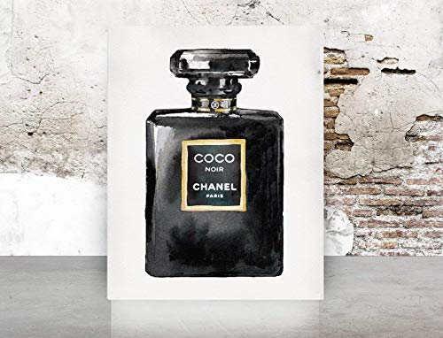 (Chanel Noir COCO Perfume Print Poster on - Pop Art, French, Vintage, Art Deco)