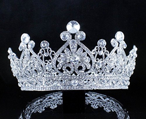 Full Crown (Janefashions Vintage Full Crown Clear Austrian Crystal Rhinestone Tiara Pageant Prom T12159 Silver)