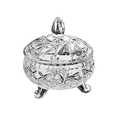 StudioSilversmiths 44041 Round Crystal Candy Box On Feet