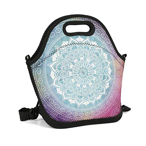 DFGDGFHHFFBDF Tote Insulated Outdoor Gift Designer Design Bohemian-Style-Colorful-Mandala- Lunch Box Bag