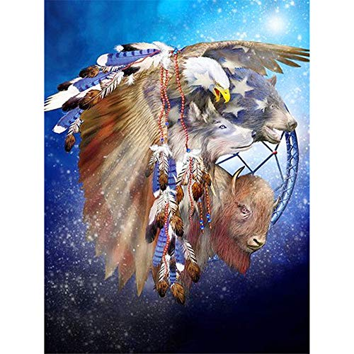 Paint by Numbers Kit 16X20 Inches DIY Oil Painting with Acrylic Pigment Anniversary Gifts for Boys and Girls - Sequin Eagle Wolf(Without Frame)