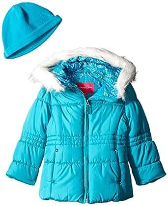London Fog Little Girls' Quilted Puffer with Fleece Hat, Aqua, 4