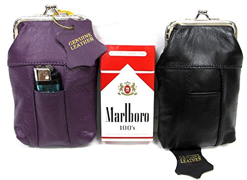 Lady's Soft Leather Cigarette Bag Slim Flat w/ Snap Closure Sold by 2PC set 1/PURPLE + 1/BLACK for 100's