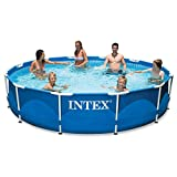 Intex Metal Frame Pool Set with Filter Pump, Ladder, Ground Cloth & Pool Cover