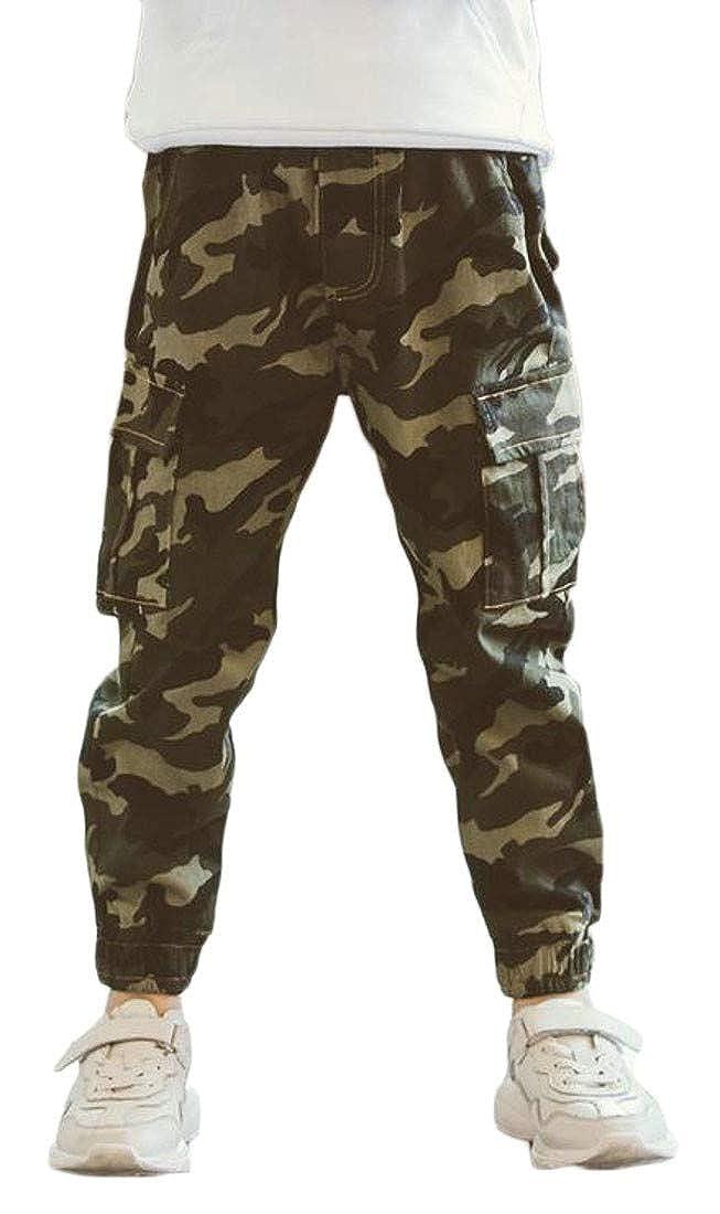Sweatwater Boys Sport Camouflage Winter Fleece Thicken Cotton Harem Long Pants