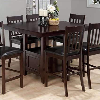 Jofran Counter Height Square Storage Dining Table in Tessa Chianti