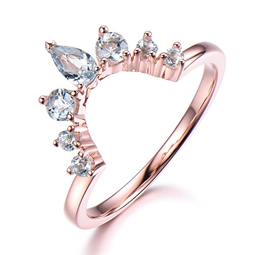 925 Sterling Silver Rose Gold Plated Natural Aquamarine Wedding Band Curved Stacking Matching Ring by Milejewel Wedding Band