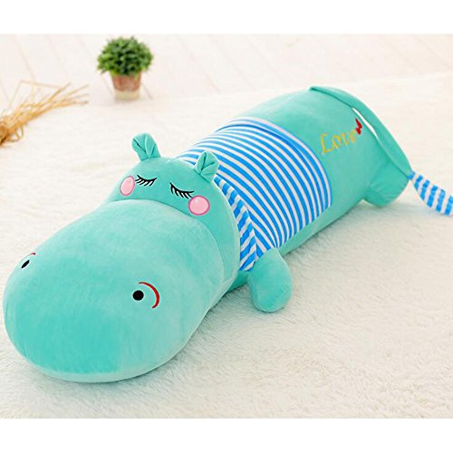 Dongcrystal 31.4 Inches Blue Hippo Stuffed Animal Toy Soft Plush Hippopotamus Pillow Squinting