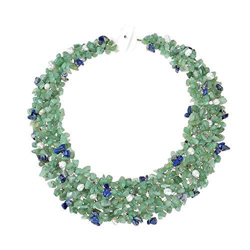 Freshwater Pearl Cascade (Green-Blue Cascades Quartz-Cultured Freshwater Pearl-Reconstructed Lapis-Lazuli Medley Trio Bib Necklace)