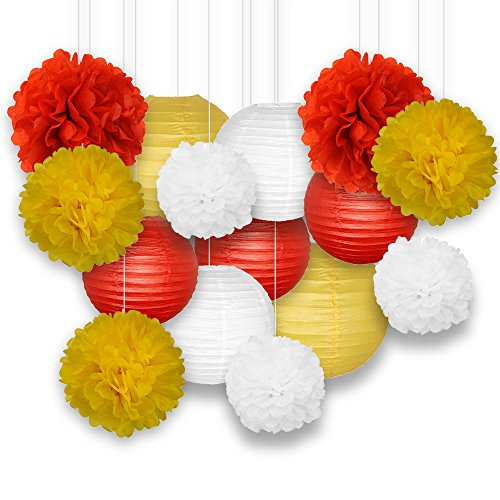 Just Artifacts Decorative Paper Party Pack (15pcs) Paper Lanterns and Pom Pom Balls - Reds/Yellow/White (Blue Art Tissue Ball)