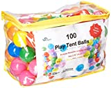 Oojami Pack of 100 Phthalate Free BPA Free Crush Proof Plastic Balls, Pit Balls - 4 Bright Reusable and Durable Carrying Case with Zipper by