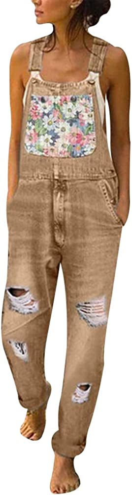 Heflashor Jeanslatzhose Damen Latzhose Jeans Hose Vintage Loose Fit Hoseanzug Overall Destroyed Denim Playsuit Romper Baggy Boyfriend Stylisch Jumpsuit H/üftjeans