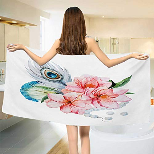 hic,Baby Bath Towel,Watercolor Style Peony Anemone Flowers Peacock Feather and Beads Artful Image,Print Wrap Towels,Multicolor Size: W 10