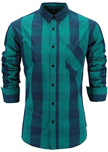 Emiqude Mens 100% Cotton Slim Fit Long Sleeve Button Down Plaid Dress Shirt