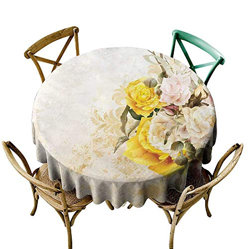 - small round tablecloth 70 inch Floral,Flower Bouquet Flourishing Rose Petals Botany Shabby Chic Design,Earth Yellow Olive Green Pink Great for Buffet Table, Parties, Holiday Dinner & More