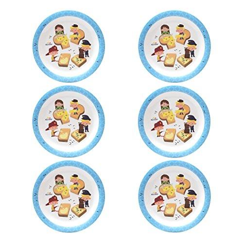 BlueBand Melamin Camping Teller, Kinderteller, flache Teller, Suppenteller, tiefe Teller mit Kinder Berufsmotiven, Farbe:6 flache Teller blau