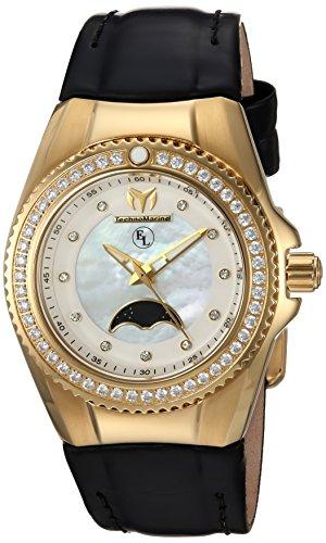 Technomarine Women's Eva Longoria Quartz Watch with Leather Calfskin Strap, Black, 23 (Model: TM-416020