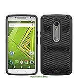 Motorola Moto X Play Rugged Impact Heavy Duty Dual Layer Shock Proof Case Cover Skin - Black