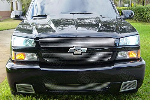 - Grillcraft CHE1509-BAC BG Series Polished Aluminum Lower Side Vent 2pc Billet Grill Grille Insert for Chevy Silverado SS Super Sport