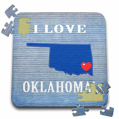Beverly Turner I Love - I Love Oklahoma with Heart on State on Striped Background, Blue, Red - 10x10 Inch Puzzle ()