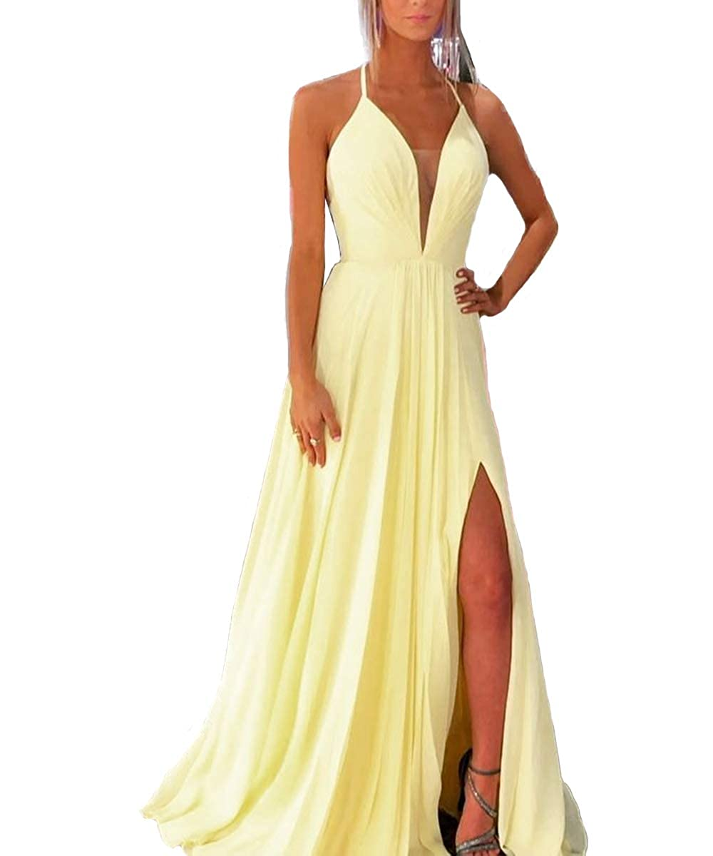 Yellow VKBRIDAL Deep VNeck Side Split Prom Dresses Long Bridesmaid Gowns with Intricate Straps