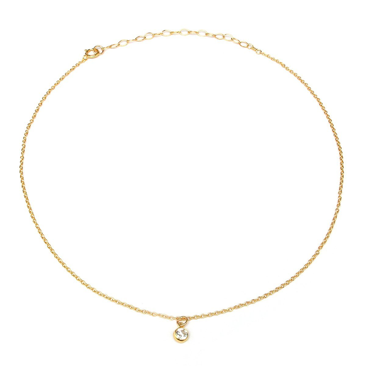 BENIQUE Dainty Necklace Choker for Women - Freshwater Cultured Pearl, Fine Chain for Layering, AAA Cubic Zirconia Drop, 14K Gold Filled, Made in USA, 13''+3'' Adjustable Ext. (Clear CZ Drop)
