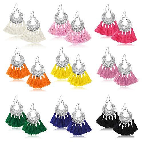 Udalyn 9 Pairs Tassel Hoop Drop Earrings Bohemian Fan Shape Tassel Earrings Set Fashion Colorful Handmade Dangle Hook Eardrop For Women Jewelry Gift