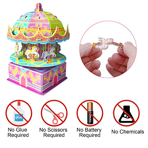 3D Carousel Puzzles for Kids Magic Carousel Music Box Dollhouse Model Whirligig Jigsaw Music Box DIY Construction Set Educational Toys Creative Games, Carousel Toy for Birthday Gift Girl Boy by TTHO (Image #1)