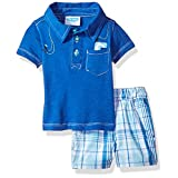 BON BEBE Baby Boys' 2 Pc Woven Short Set with S/S Collared Button Front Shirt, Blue Map, 6-9 Months