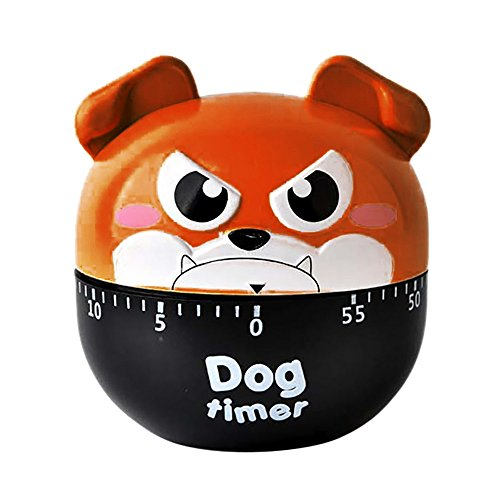 Sujing Kitchen Timer Cute Dog Shape Mechanical Rotating Alarm Cute Cooking Gadget Tool (Brown) -
