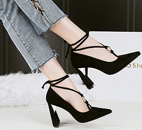 Fashion Womens Ankle Wrap Shoes Pumps Self Pointed Cut Black Low Heel Aisun Dressy Chunky Nightclub Tie High Toe q5wdqSC
