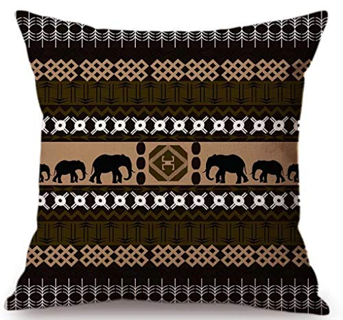 "Linara Boutique Decor Square Throw Pillow Cushion Covers African Savannah Series, for Couch, Sofa, Bed, Home Decor, Interior Design, 18"" X 18"" (45CM X 45CM) (Elephant)"