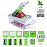 Cool-Shop Multipurpose Vegetable Chopper Mandoline Spiralizer Slicer – 12 in 1 Heavier Duty Multi Vegetable-Fruit-Cheese-Onion Chopper-Dicer-Kitchen Cutter
