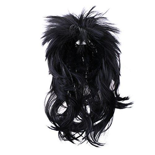 MonkeyJack Punk Rock Star Mullet Wig Unisex Lady Men Fancy Dress Holiday 1980s 90s Music Band Costume Spike Wig 40cm - Black -