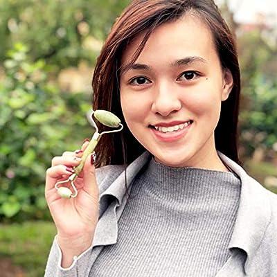 Jade Roller and Gua Sha - Beauty Facial Skin Massager Roller Body Eyes Neck - Original Natural Jade Stone (Green)