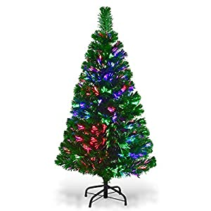 Goplus Artificial PVC Christmas Tree Pre-Lit Fiber Optic Tree 25