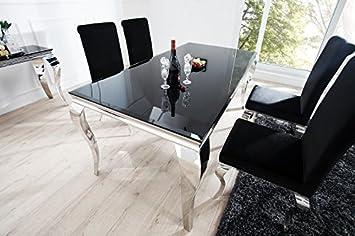 Casa Padrino Luxus Esszimmer Set Schwarzsilber Esstisch 200 Cm