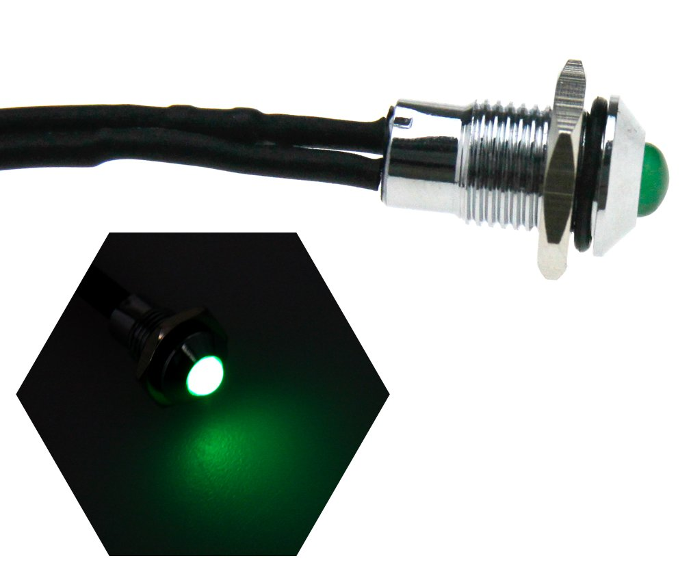 2x 6mm Car Panel Indicator Lamp Warning Light 12V Red LED Metal Truck Van