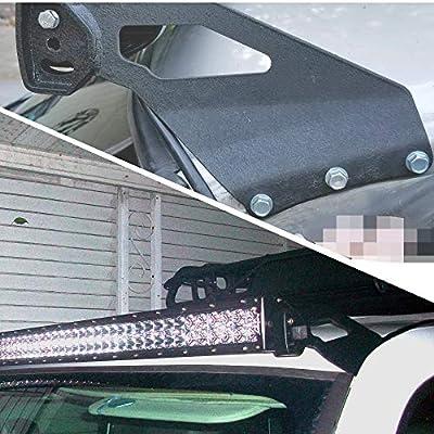 HOZAN Steel Metal Upper Windshield Mount Bracket Apply for 50 inch Straight LED Light Bar for Chevrolet Silverado GMC Sierra 1999-2006 Roof Mounting Brackets: Automotive