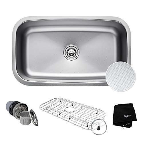 Kraus KBU14E Outlast MicroShield Scratch-Resist Stainless Steel Undermount Single Bowl Sink, 31.5