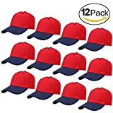 Falari 12-Pack Wholesale Plain Velcro Baseball Cap Adjustable Size Solid Color (Red + Navy)