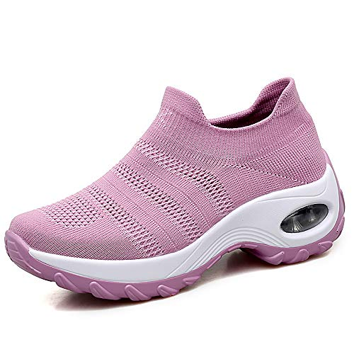HKR Womens Comfortable Walking Shoes Lightweight Platform Slip On Sneakers Knit Mesh Working Shopping Shoes Pink 7.5(ZJW1875fense39) ()