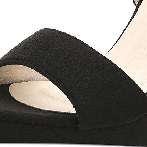 Verano Negro Alto Con Pendiente Con Sandalias Femeninas Impermeable Plataforma De Fondo Bajo De Peces De La Boca Zapatos De Cuero black 12 cm