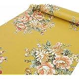 BESTERY Retro Peony Floral Home Wallpaper Peel & Stick Shelf Liner Dresser Drawer Sticker Contact Paper (Dark Yellow)