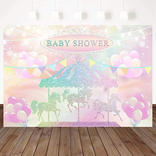 Mehofoto Carousel Baby Shower Backdrop Pink Balloon Photography