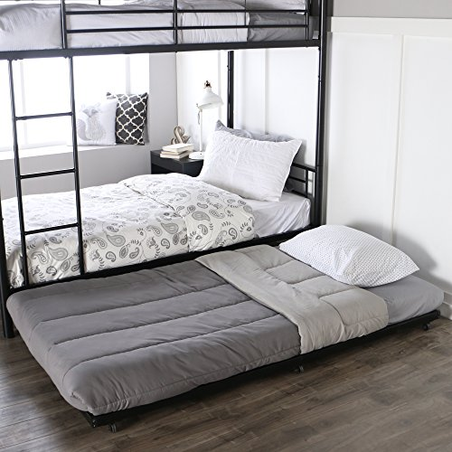 (Walker Edison Twin Roll-Out Trundle Bed Frame, Black)