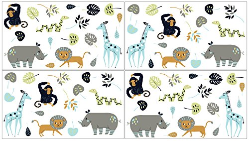 Jungle Art Collection - Sweet JoJo Designs Turquoise and Navy Blue Safari Animal Peel and Stick Wall Decal Stickers Art Nursery Decor for Mod Jungle Collection - Set of 4 Sheets