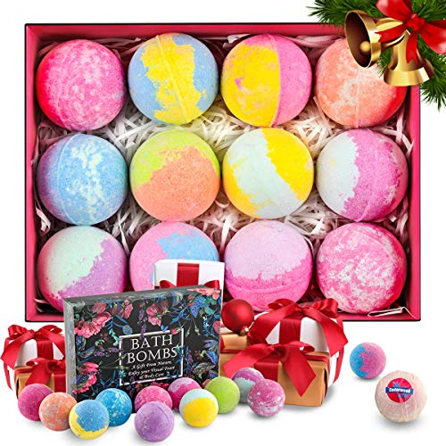 Ophanie Bath Bombs Gift Set 12 x 4.23 oz, Large Lush Fizzy Bath Bomb Kit for Women Teen Girls & Kids; Handmade with Natural & Organic Essential Oil Moisturizing Dry Skin, Perfect for Bubble & Spa Bath -