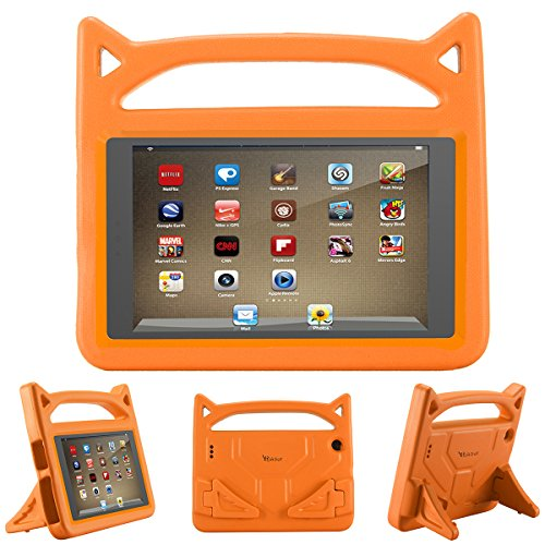 All-New F i r e 7 2017 Case,Riaour Kids Shock Proof Protective Cover Case for A m a z o n F i r e 7 Tablet (Compatible with 5th Generation 2015/7th Generation 2017) (Orange -1)
