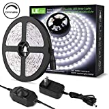 LE B00MHLIFO8 with 12V Power Supply, 300 SMD 2835, Non-Waterproof LED Tape Flexible Rope Light for Home, Kitchen, Under Cabinet, Bedroom, Daylight White